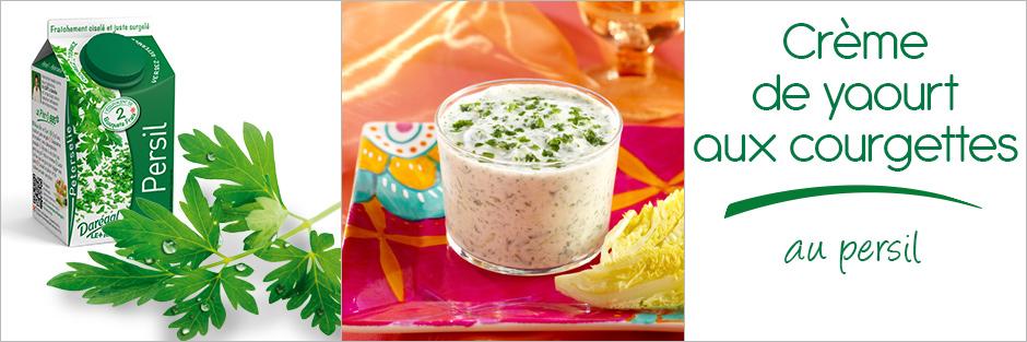 Darégal - recette - Crème de yaourt aux courgettes au persil