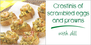 Scrambled eggs, prawns and dill crostini