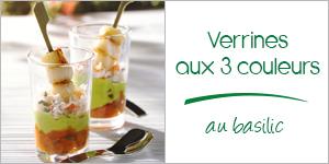 Darégal - recette - Verrines aux 3 couleurs au basilic