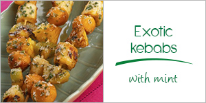 Exotic kebabs with mint