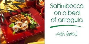 miniature-mini-saltimbocca-on-a-bed-of-arragula-with-basil