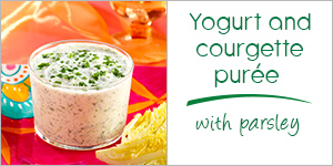 Yogurt and courgette purée with garlic and parsley