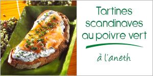 Tartine scandinave aux baies de poivre vert à l'aneth