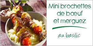 Mini brochettes de bœuf et merguez au basilic
