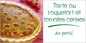 Tarte au Roquefort aux tomates cerises et au persil