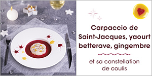 Carpaccio de Saint-Jacques, yaourt betterave, gingembre et sa constellation de coulis
