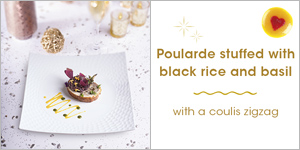 Poularde stuffed with black rice and basil with a coulis zigzag