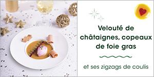 Velouté de châtaignes, copeaux de foie gras et ses zigzags de coulis