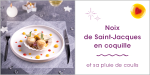 Noix de Saint-Jacques en coquille et sa pluie de coulis