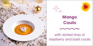 Mango Coulis with dotted lines of Raspberry and Basil coulis