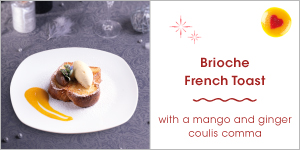 Brioche French Toast with a Mango and Ginger Coulis comma