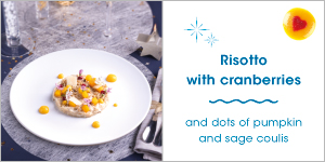 Risotto with cranberries and dots of pumpkin and sage coulis